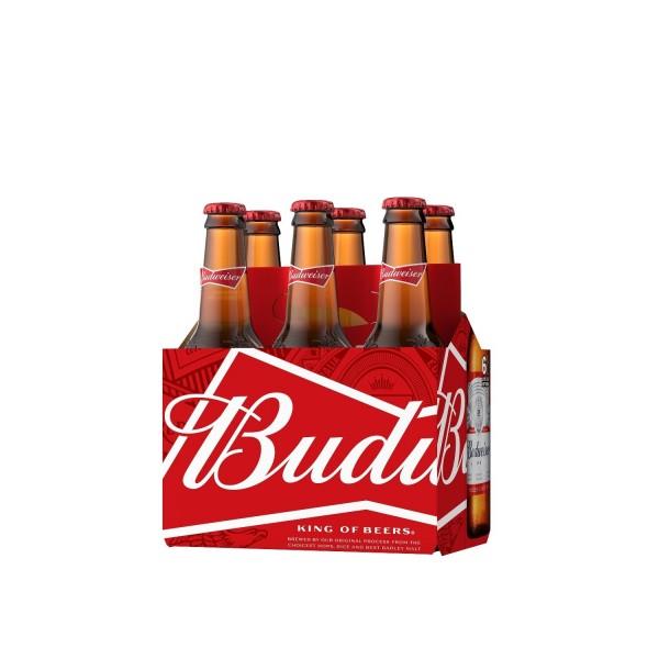 Budweiser Lager Bottle 6 Pack 355ml