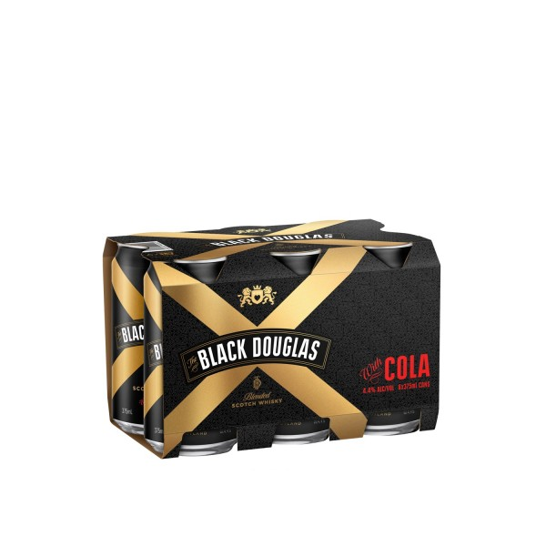 Black Douglas Whisky & Cola Cans (6Pack) 375mL